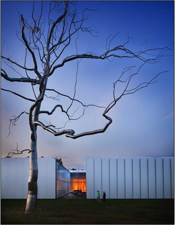 Roxy Paine, Askew, 2009, installed next to West Building, North Carolina Museum of Art.