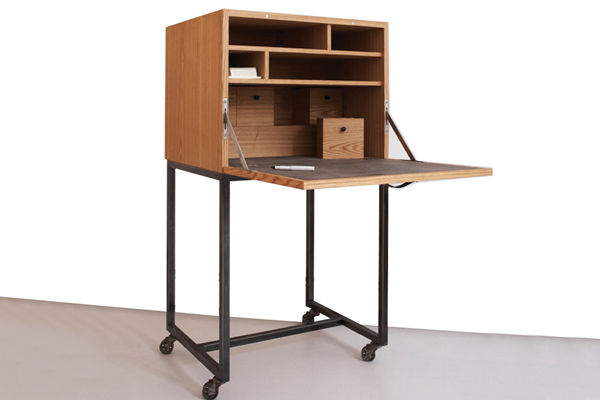 The business end of things is this fold-down desk, ideal for a laptop and better still for saving the space a bulky desk might take up. Best of all, you can wheel the thing away when you're through with it.