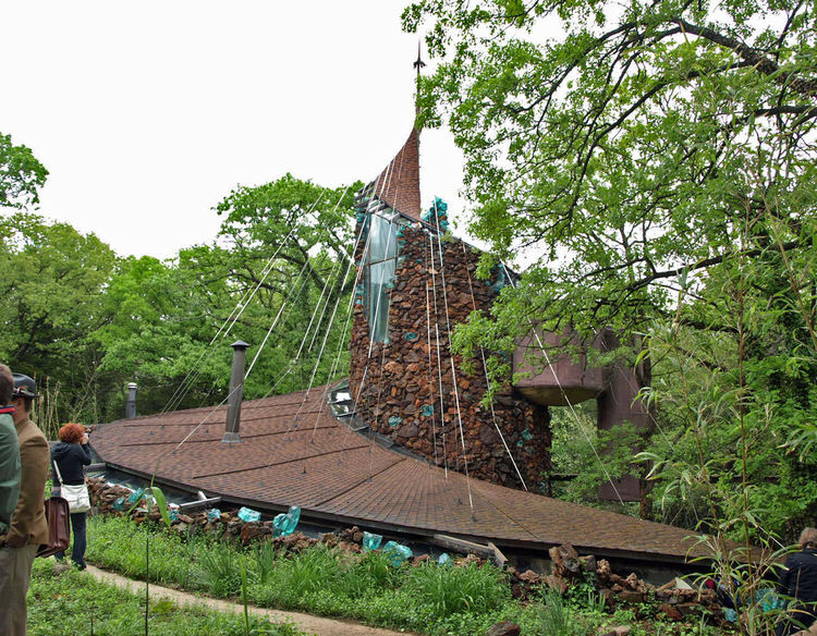 The Bavinger House in Norman is considered by many to be Goff's finest work. Built mostly with scavenged materials over the course of many years, the house is more art than architecture. This view from 2009 shows the support cables and unusual storage pod
