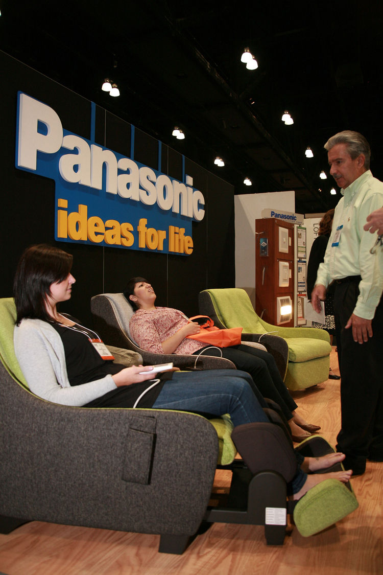 "Always welcome at any show floor is a phalanx of comfy seating. <a href=""http://panasonic.com/"">Panasonic</a> had the right idea. <b></b>Keep watching <a href=""http://www.dwell.com.html"">dwell.com</a> for more sights from the show floor, interviews with e"