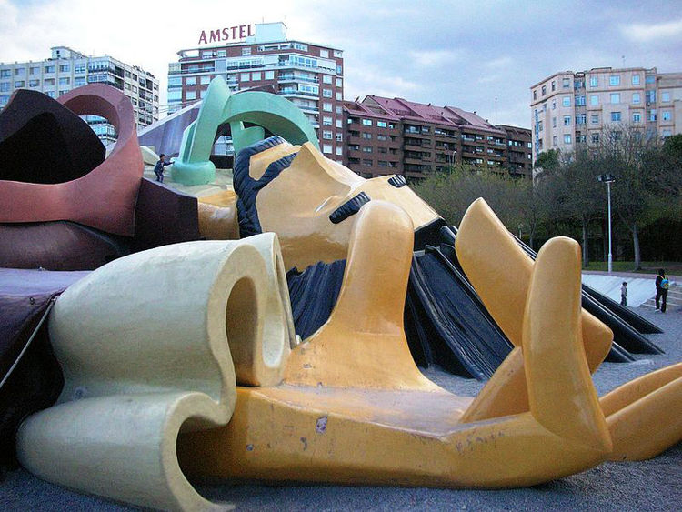 Parque Gulliver in Valencia, Spain, is a monumental play sculpture depicting the moment that Gulliver is captured by the Lilliputians. His legs and arms are stairs, his waistcoat and hair are giant slides, his sleeves are caves, and the ropes that tie him