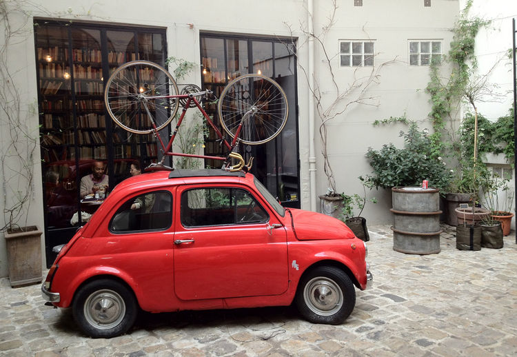 "<a href=""http://www.merci-merci.com/"">Merci</a> is the giant concept store in the Marais opened in 2009 by Bernand and Marie-France Cohen (the couple behind the luxury children's clothing brand Bonpoint). The car/bicycle arrangement in the inner courtyard"