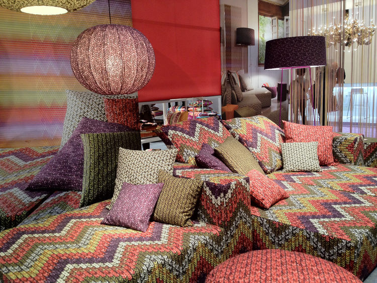 The Missoni Home booth at Maison & Objet was, as expected, a riot of color and print. I noticed a lot of thickly-spun knit this year, including photorealistic patterns in addition to the real thing.