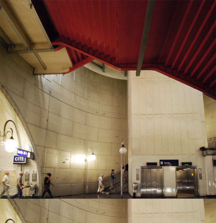 With green lighting and red staircases, the Cite metro (which serves Île de la Cité, the island on the Seine where Notre Dame sits) is one of the deepest and most awe-inspiring stations, designed with the concept of a giant riveted tank. Photo courtesy of