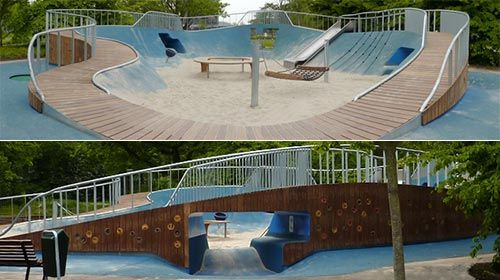 """<p>Located in the Hague, Netherlands, <a href=""""http://www.carve.nl"""">Carve</a> designed this park for children with disabilities. Since there are no clear features that designate this a handicapped-accessible park, the distinction between abled a"""