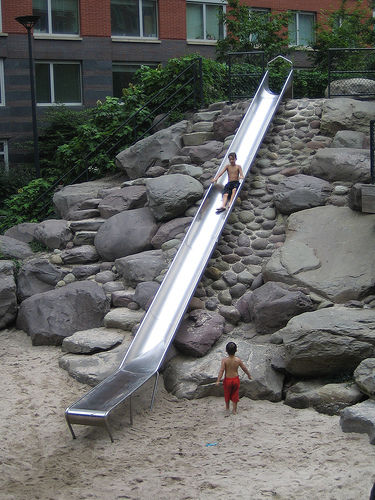 "<p>Teardrop Park in lower Manhattan, designed by <a href=""http://www.mvvainc.com"">Michael Van Valkenburg Associates</a>, gives city kids a natural landscape to frolic in. There are rocks to climb on and slide down, water fountains that shoot into the air,"