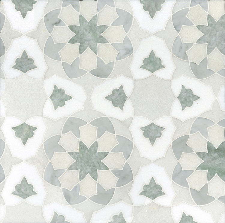 """My travels through Spain, Portugal, and Mexico combined with my love of Morocco and studies of Islamic geometric art were the inspirations behind my patterns,"" says Schatz. The Alcala design, shown here, is made from combinations of natural marbles just"