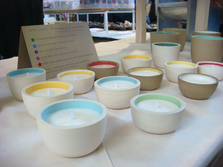"My favorite booth at the fair was <a href=""http://www.etsy.com/shop/paulova"">Paula Lopez-Otero</a>'s. She had an array of ceramics reminiscent of Heath's (minimal shapes, neutral on the outside, brightly colored on the inside) but with little twists. Here"