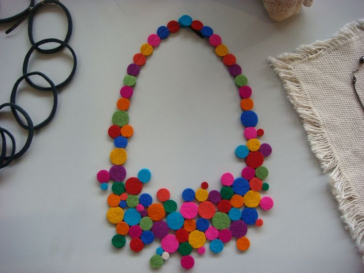 "A felt necklace by designer <a href=""http://www.vacideerdazimic.blogspot.com/"">Vacide Erda Zimic</a>."