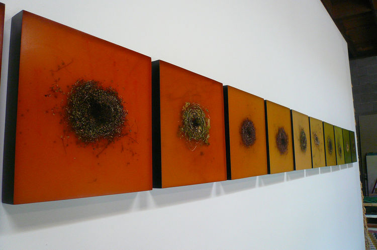 """Our last stop was the studio of Mayme Kratz, an artist who works largely with resin, embedding bones, dried plant material, and other natural objects on resin-coated boards. She considers some of her art-making """"a way of journal-keeping."""" These are her """"k"""