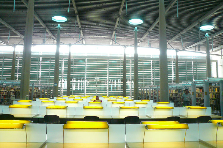 One of the things I was most excited to see was the Central Library's fifth floor, renowned for its acre-sized reading room, the largest in the country according to Burnette. The cavernous space is made more intimate by the individual reading lamps at eac