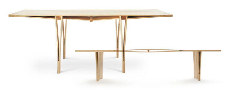 "Made entirely of wood, Saleem Bhatri's 2004 table ""Right in-tension"" appears simple but his genius rests in the details. Bhatri cut the plank width ways to create a stress point and increased the material's resistance by triangulation. The design showcase"