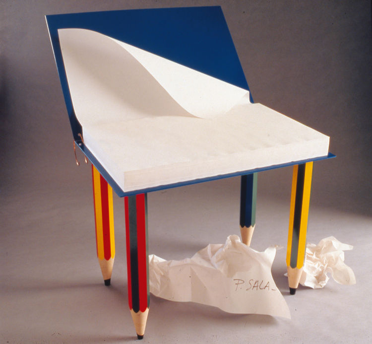 "Pierre Sala's 1985 bureau pour enfant ""Clairefontaine,"" child's desk, comprises 625 blank sheets of paper, and two thousand prototypes sold in the four months following the release. Sala designed an entire collection in the same style. © DR Archives"