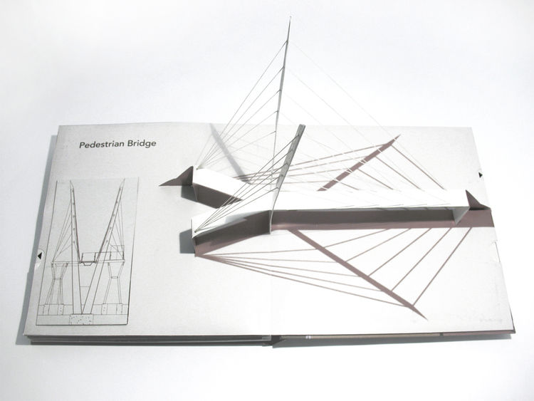 The two pages dedicated to the cantilevered pedestrian bridge at New York's Rockefeller University were my favorite: the towers really 'pop' as soon as you open the book, and the cables (made of elastic string) stretch taut in bridge-like simulation.