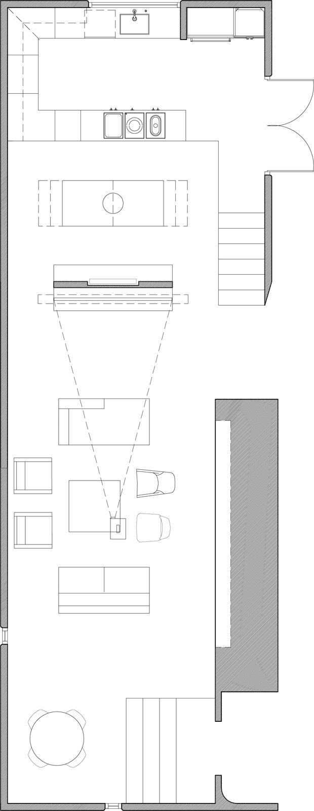 "The floor plan of the main room, including the media room, dining area and kitchen. Image courtesy <a href=""http://www.curtispopp.com/"">Curtis Popp</a>"
