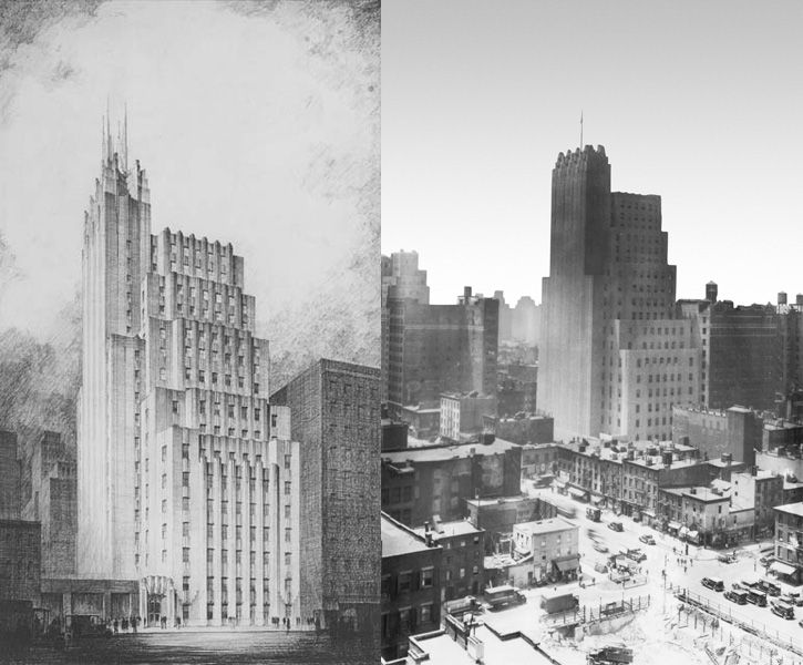 At left, a preliminary drawing of the Telephone Building at 212 West 18th Street from the late '20s. The building at completion, photographed in 1931 (at right), which shows the lack of a full-height spire, something the Walker Tower developers are planni