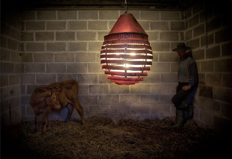 "This light is made from a rusty old tea chest that Randall discovered in a warehouse in Devon. ""The idea for these pieces came from the unpeeling of an orange,"" says Randall. ""It just goes to show you never know where or when inspiration will strike."""