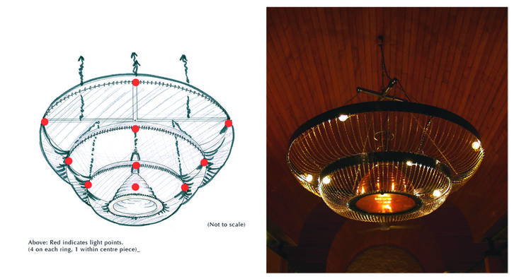 The Circular Chain Chandelier is made from over 100 meters of chain, with a salvaged copper ships' lamp in the center.