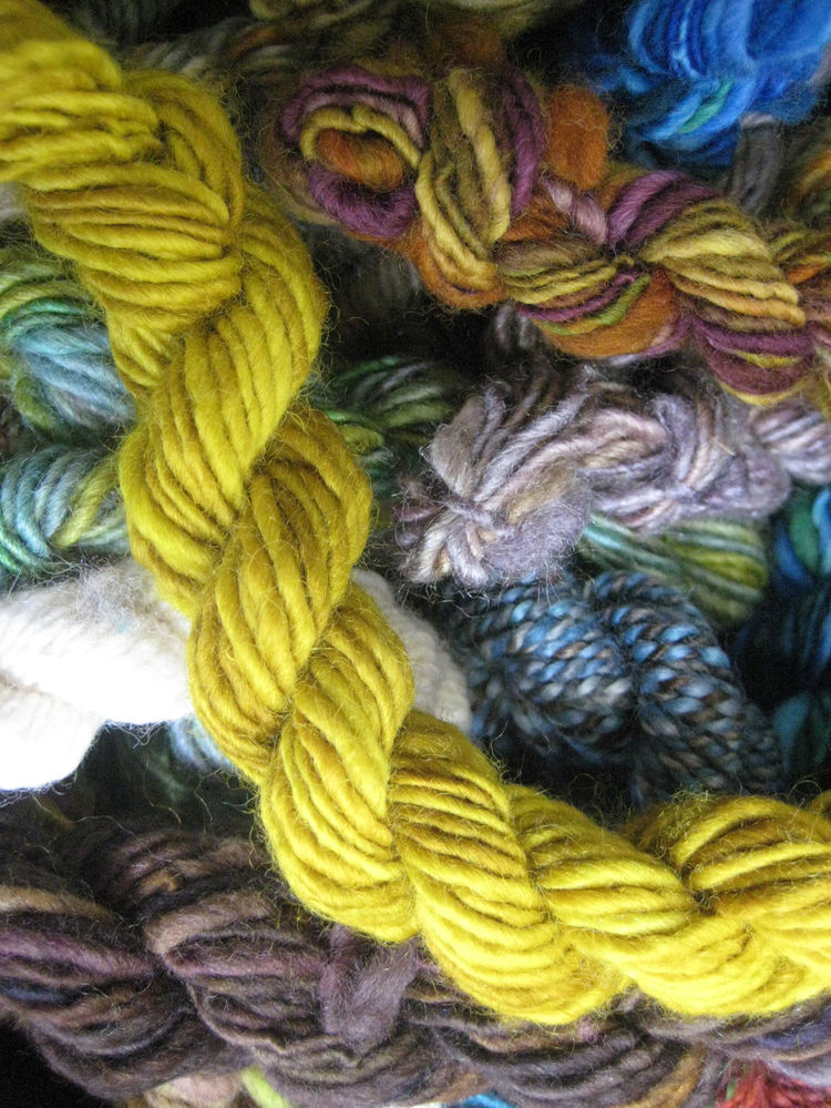 "It takes a mix of four different colored dyes for the gals at Bellingham, Washington's <a href=""http://spincycleyarns.com"">Spincycle Yarns</a> to get this pitch-perfect, super-saturated mustard yellow."