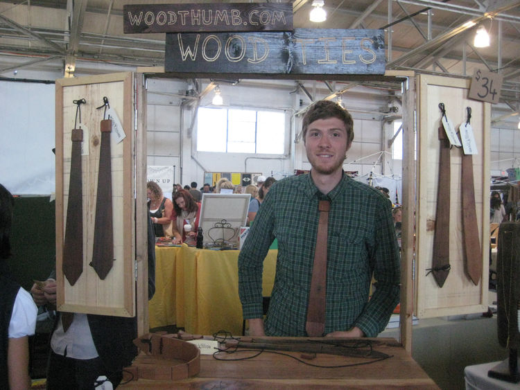 "Accessories aren't just for ladies. David from <a href=""http://woodthumb.com/"">Wood Thumb</a> models one of his signature timber ties (which are made from reclaimed materials, natch). They're pretty stylish, and would certainly make a statement over the s"