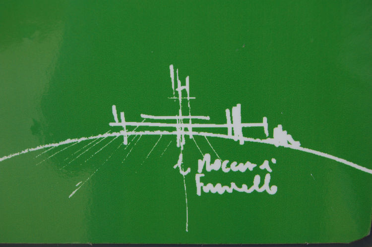 The architect's initial sketch for the structure, which he drew when touring the site from helicopter.