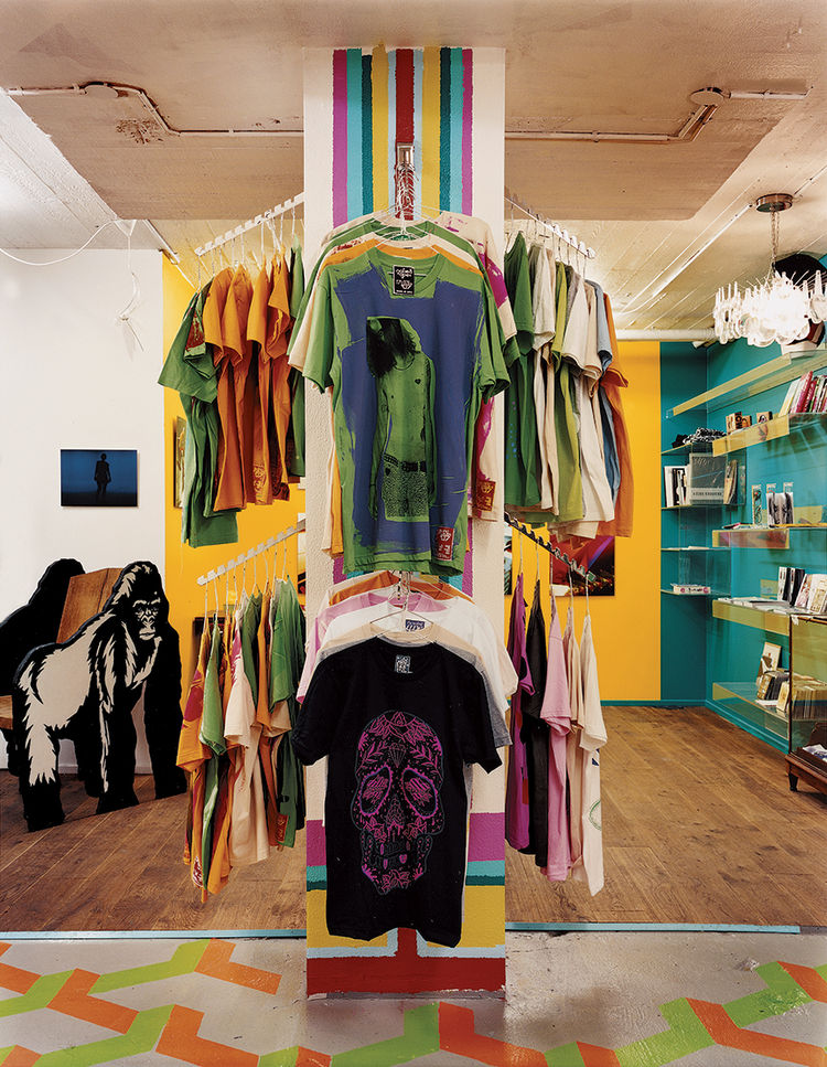 The original Naked Ape shop sells inventive street clothes that are screenprinted by the store's owner and many local artists and designers.