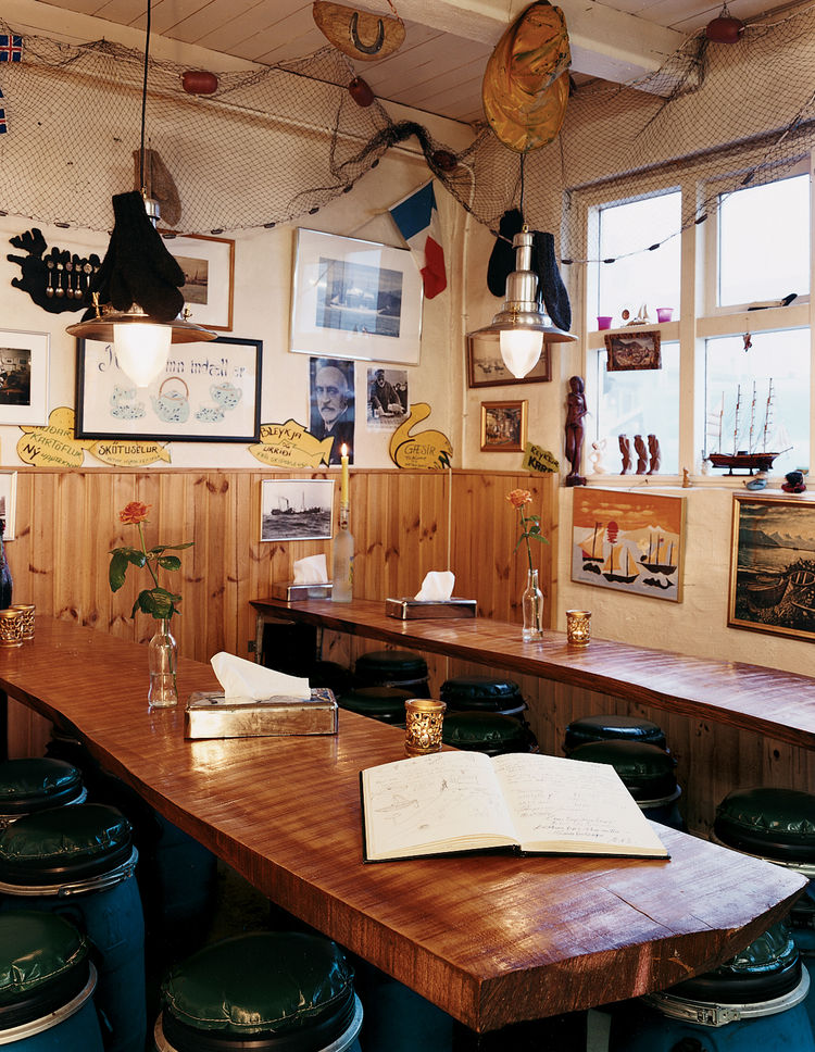 The cozy Saegreifinn Fish Shop is owned by a former fisherman, a legendary salty character who lives above the shop.
