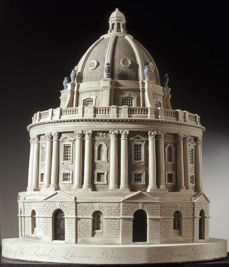 A scale model of the Radcliffe Library at Oxford, with an octagon at its center, as designed by James Gibbs in 1757.