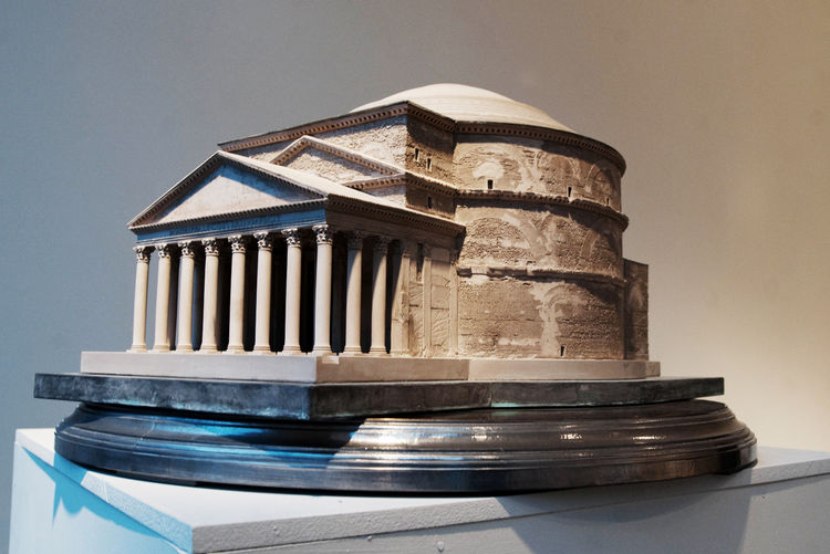 Richards' model of the Pantheon in Rome is plaster, with additional detail in white metal and etched brass. The model is hinged to reveal a coffered ceiling inside.