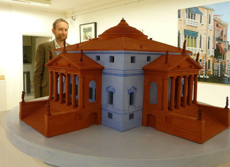 "Richards poses next to his model of the Villa Rotonda, part of the Morgan Library and Museum's <a href=""http://www.themorgan.org/exhibitions/exhibition.asp?id=29/"">current exhibit</a> of Andreas Palladio's drawings in New York."