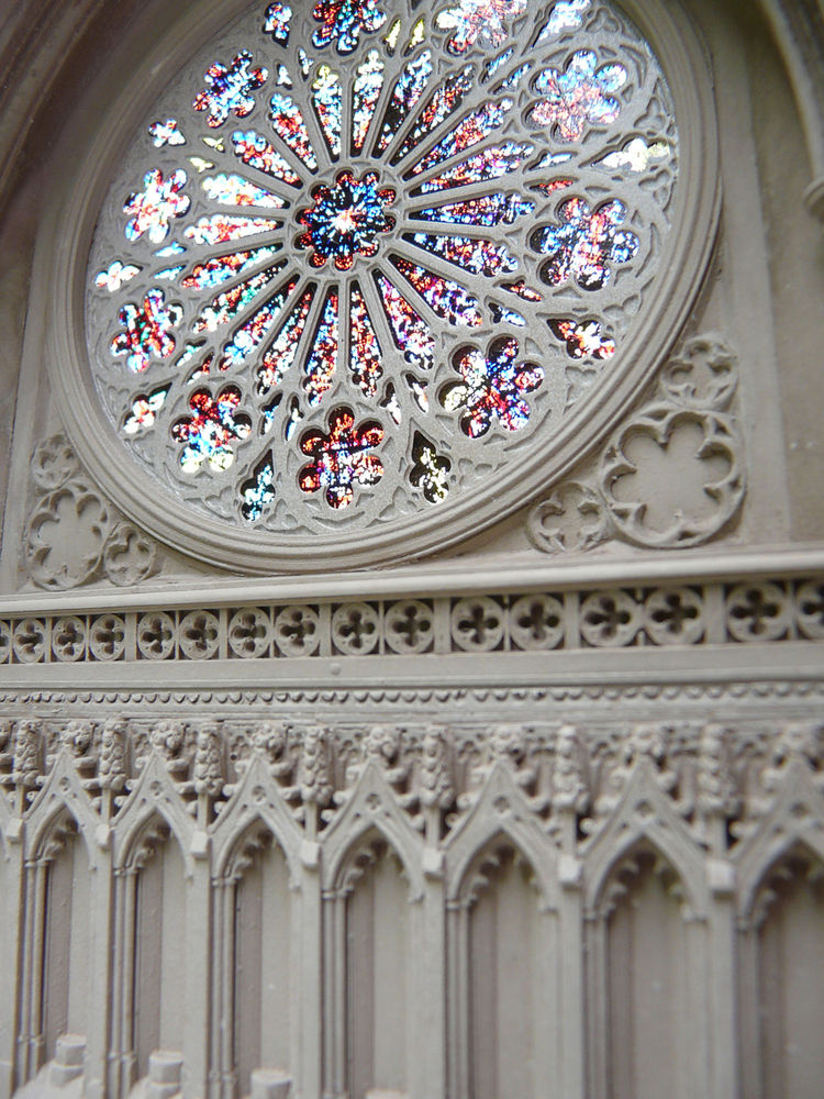 Richards has scaled down the Rose Window from the West Façade of the National Cathedral in Washington, D.C., to a single bookend with glass panes.