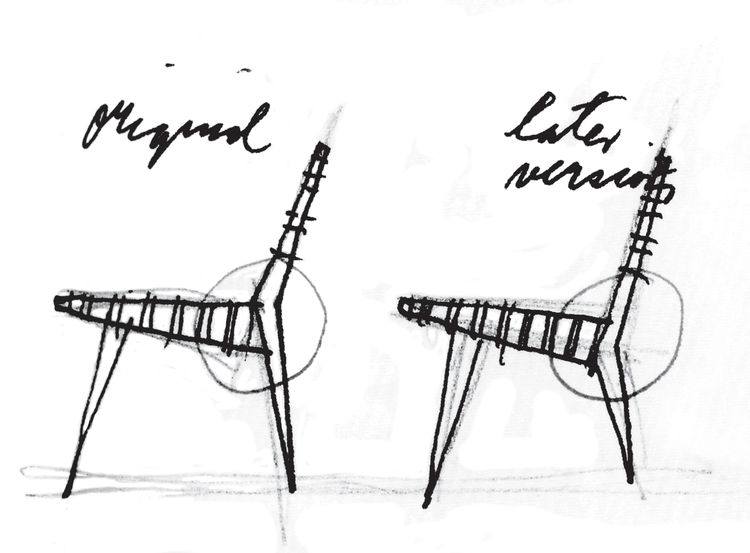 Modifications to an earlier design show that he's not one to believe his work is beyond improvement: this sketch shows a lower axis point for a leg joist in the latest version of his classic 600 line chair.