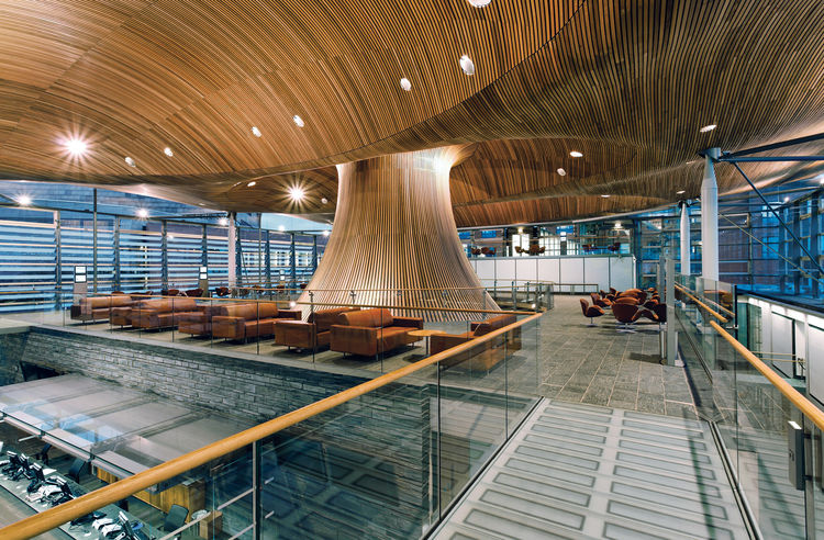 The National Assembly of Wales, completed in 2006, features an open–air design that is intended to reflect the transparency of democracy.