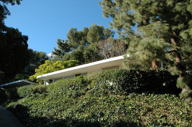 """The house's flat roof peeks through the lush garden. Roofs are a particularly problematic part of mid-century homes. Sallin has a roofer come in yearly to touch up and inspect the roof, an investment he says pays off. """"We've never had a leak because of th"""