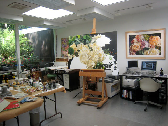 Salin's wife, Sandra, is a professional artist. He designed a studio space for her, which is illuminated by skylights and large floor-to-ceiling windows along the back wall. The 7 x 9 module was used to determine their size, says Sallin.