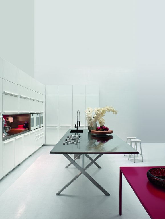 "The Cross Island, the new kitchen design by Ludovica+Roberto Palomba for <a href=""http://www.elmarcucine.com"">Elmar</a> is an elegant version of a trestle table, unusual for the kitchen, but the slim and light design creates an airy atmosphere in which to"