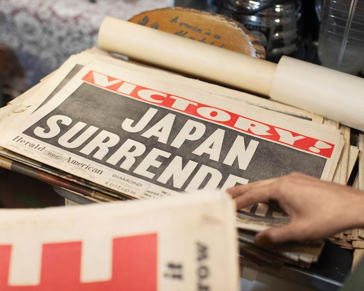 Vintage yellowing newspapers.