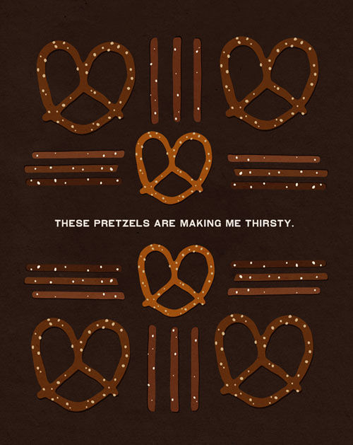 """The line that Kramer got in a Woody Allen film became the rallying cry for the entire episode: """"These pretzels are making me thirsty."""""""
