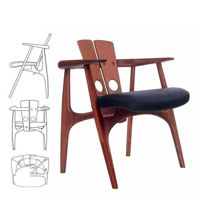 "The Katita chair, in peroba wood with black upholstery, made in 2004 to a 1997 design. Photo courtesy <a href=""http://www.espasso.com"">Espasso</a>."