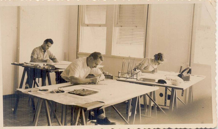 "Rodrigues and colleagues at his first architecture office in 1950. Photo courtesy <a href=""http://espasso.com/"">Espasso</a>."