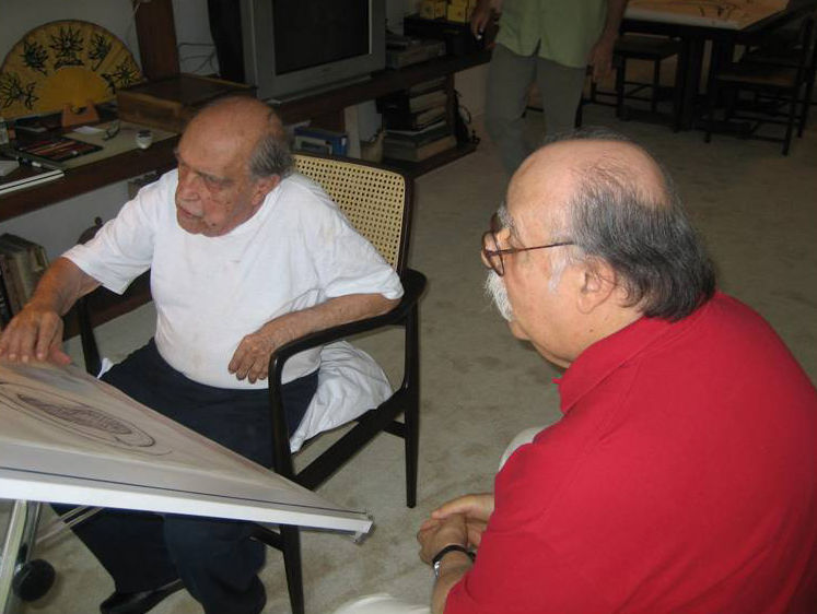"Rodrigues (right) in a 2007 photograph with Oscar Niemeyer, with whom he collaborated and who said that for a time, ""the designer I requested furniture from mostly was Sergio Rodrigues."" Photo courtesy <a href=""http://espasso.com/"">Espasso</a>."