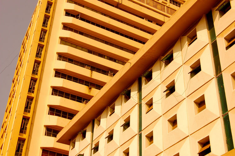 """In Mumbai, architectural styles converge. Looking up towards the sky often presented unique grids and patterns created by the surrounding buildings.<br /><br /><p><em><strong>Don't miss a word of Dwell! Download our </strong></em><a href=""""http://itunes.ap"""