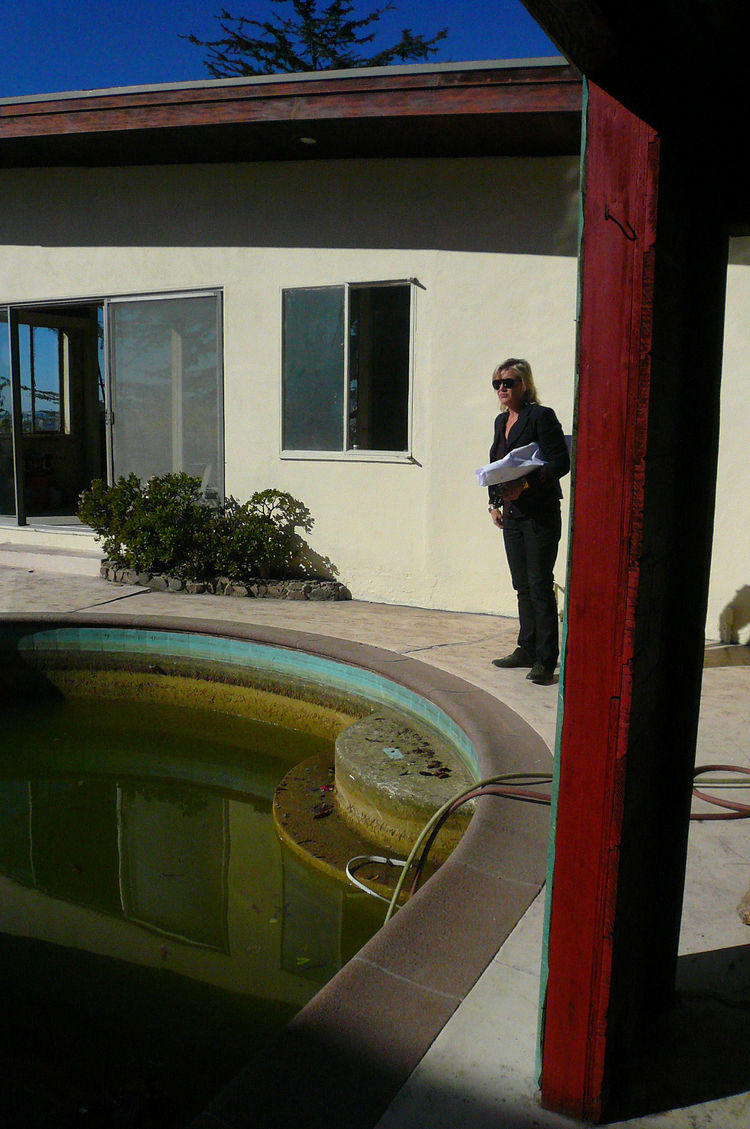 Bestor was eager to show me her house—a massive renovation project, still in the early demolition phase. She bought the house in part for its heart-shaped swimming pool, a quadrant of which is pictured here.