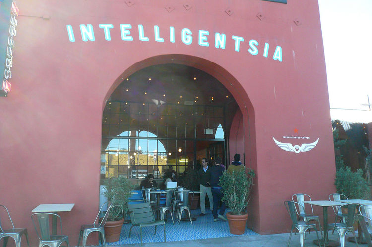 Also at that intersection is the Silver Lake branch of Intelligentsia Coffee, LA's leading cult coffee brand. Bestor's firm designed this space as well.