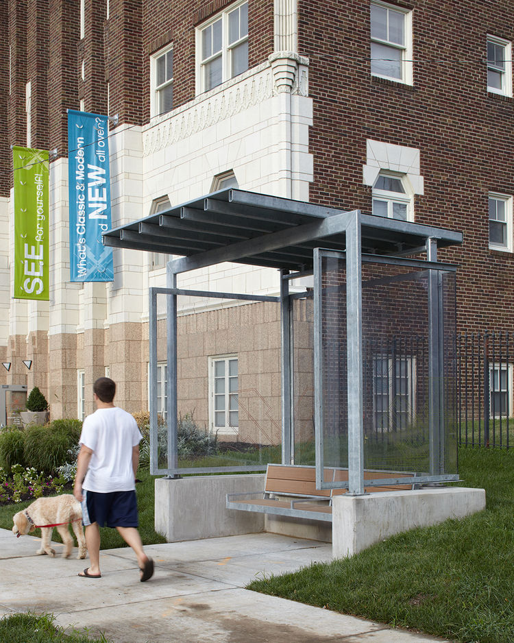 "Here's a look at one of the two shelters. I asked what they cost and Maginn replied, ""They tell me [the cost] is withheld, but that the Kansas City Area Transit Authority typically offers three types of shelters: a base model, a deluxe model and one in be"