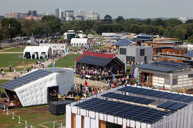 An aerial view of Potomac Park where the 2011 Solar Decathlon was held. Photo by: Stefano Paltera/U.S. Department of Energy Solar Decathlon.