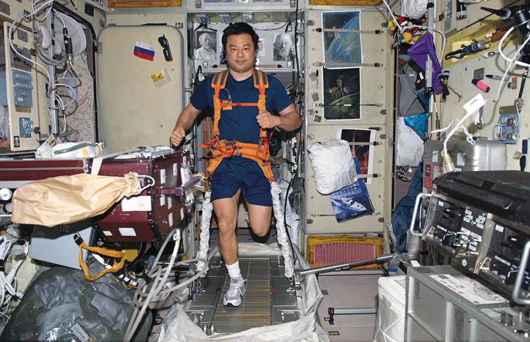 "Space life doesn't differ much from the daily grind on Earth—–it just demands more attention. Leroy Chiao's daily workout requires tying on both sneakers and  a bungee harness before putting in miles on the TVIS (""treadmill vibration isolation system""). I"