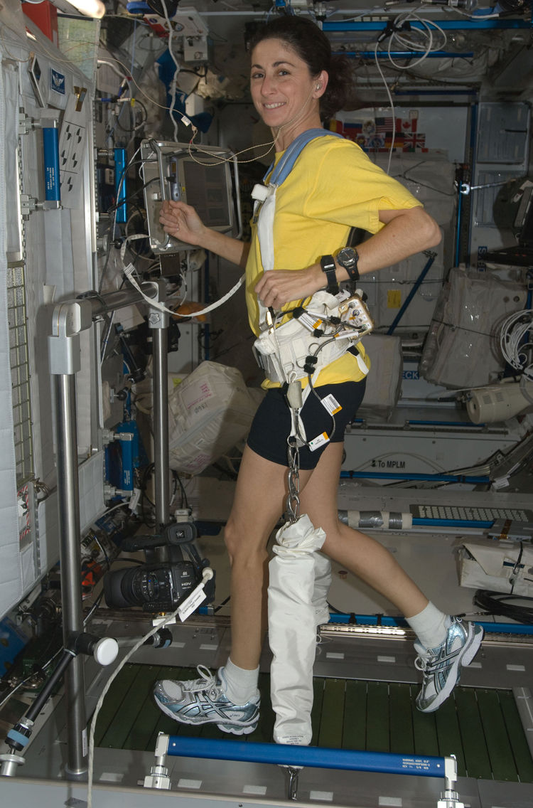 NASA astronaut Nicole Stott, Expedition 21 flight engineer, equipped with a bungee harness, exercises on the Combined Operational Load Bearing External Resistance Treadmill (COLBERT) in the Harmony node of the ISS. Photo taken October 20, 2009. <br /><br