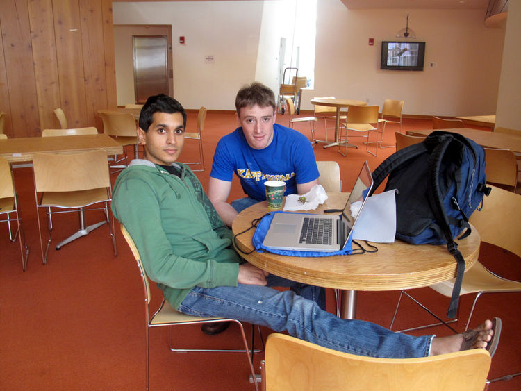 """We bumped into Praveen Subramani, another senior in computer science, working in the fourth floor common area. When asked about his favorite part about Stata, he said, """"The staircases are beautiful. Even though its not the most direct, Gehry's grand stair"""