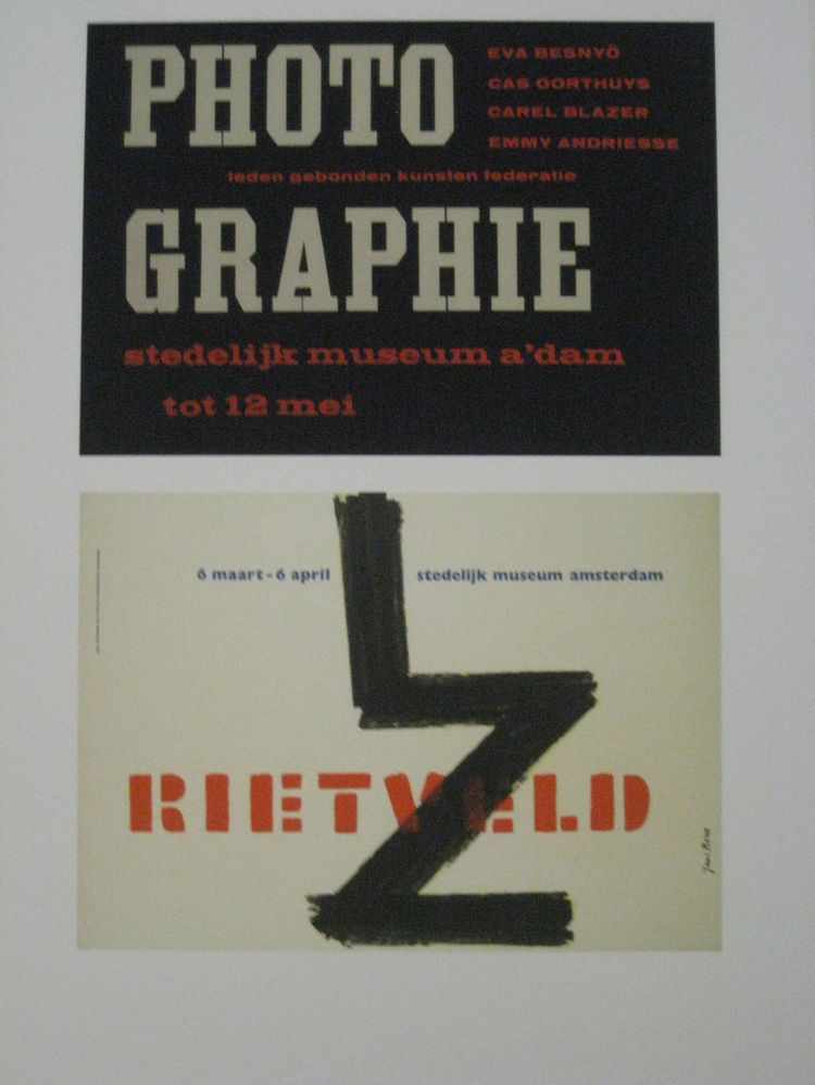"Willem Sandberg (b. 1897 Amersfoort, d. 1984 Amsterdam). Poster for ""Photographie,"" 1952 and ""Rietveld,"" 1959."
